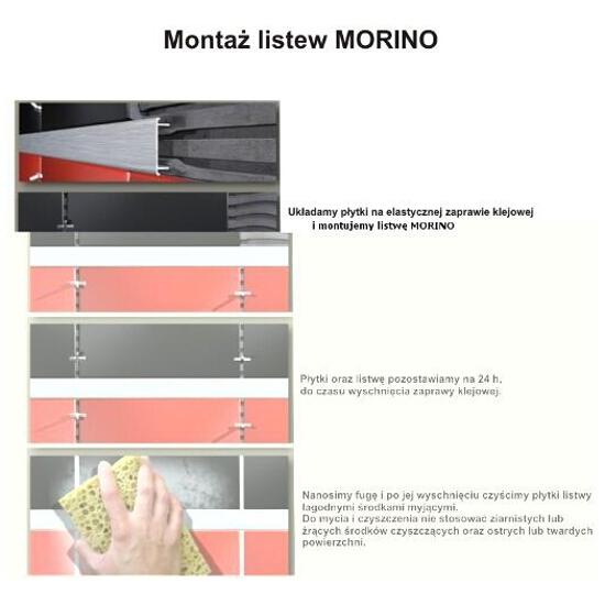 Listwa dekoracyjna płaska 50x8,5mm ALU srebrny A0 dł. 2,5m F-ADPB1-A0-250 Morino