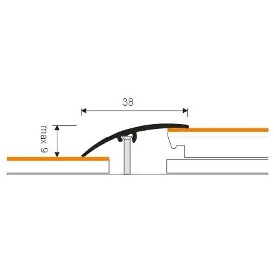 Listwa wyrównująca 38mm ALU srebro 01 dł. 0,9m 1-12201-01-090 Borck
