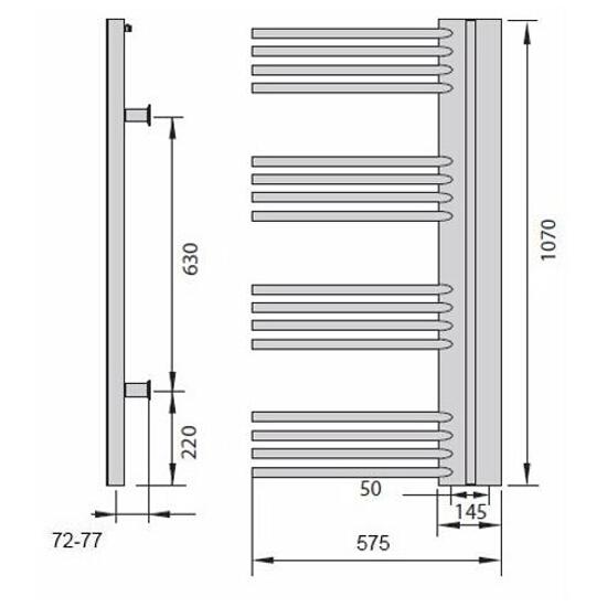 Grzejnik łazienkowy ELITE E-611L silver Enix