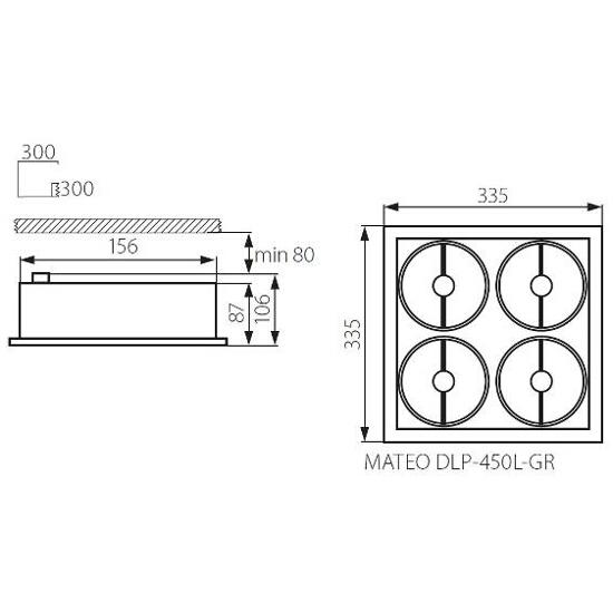 Oprawa downlight MATEO DLP-450L-GR Kanlux