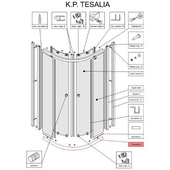 Prowadnica kabiny półokrągłej Tesalia 90 chrom S900-2205