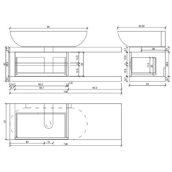 Szafka podumywalkowa pod umywalkę meblową KIOTO 70/80/90 OS-502-001