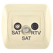 Gniazdo ścienne Akord anten. SAT/SAT/RTV końcowe AZAR+SAT3.1-P2/12 beżowy Kontakt Simon