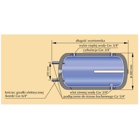 Wymiennik c.w.u. (bojler) WZ-100 TERMO-HIT z podłączeniem do zewnętrznego wymiennika Kospel