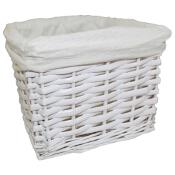 Koszyk wiklinowy średni biały Sepio