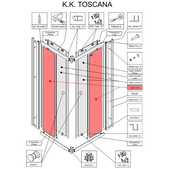 Szyba do kabiny prysznicowej kwadratowej część stała Toscana 90 Cariba S900-2300