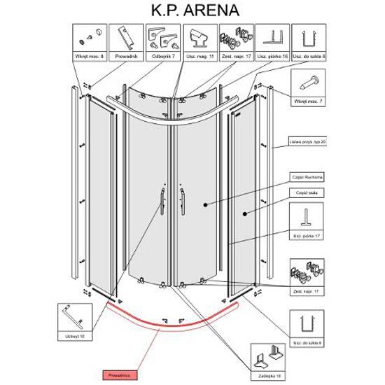 Prowadnica kabiny półokrągłej Arena 90 chrom S900-2397