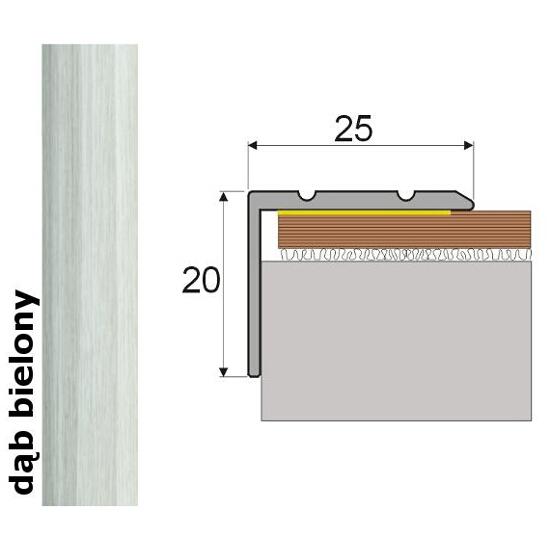 Listwa schodowa Effect Standard A36 samoprzylepna dąb bielony 120cm Effector