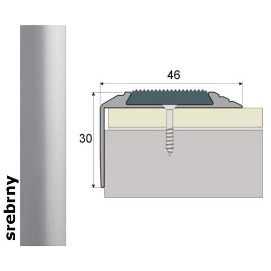 Listwa schodowa Effect Standard A38 z wkładką antypoślizgową srebro 270cm Effector