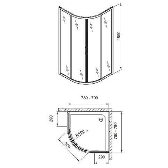 Kabina prysznicowa półokrągła HAVANA 80 100-07501 Aquaform