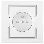 Gniazdo ścienne QUATTRO pojedyncze z/u GPT-2P+Z biały srebrny Elektro-plast N.