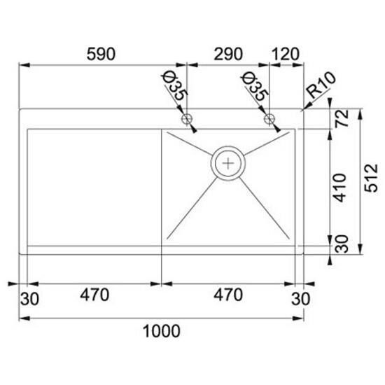 Zlewozmywak Planar PPX 611/211 komora z prawej 127.0203.465 Franke